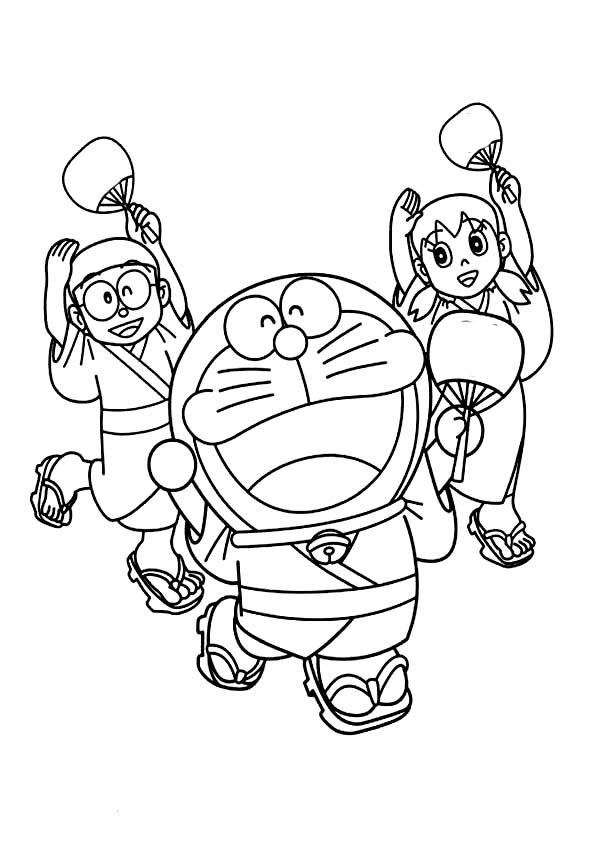 Doraemon Nobita And Shizuka Dancing Coloring Page Free