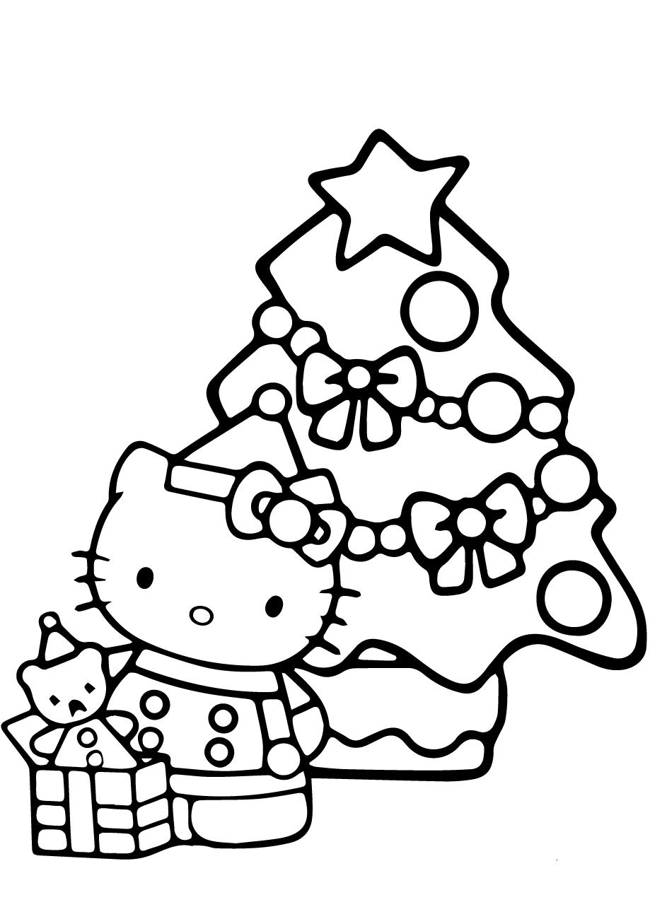Kitty And Christmas Tree Coloring Page - Free Printable ...
