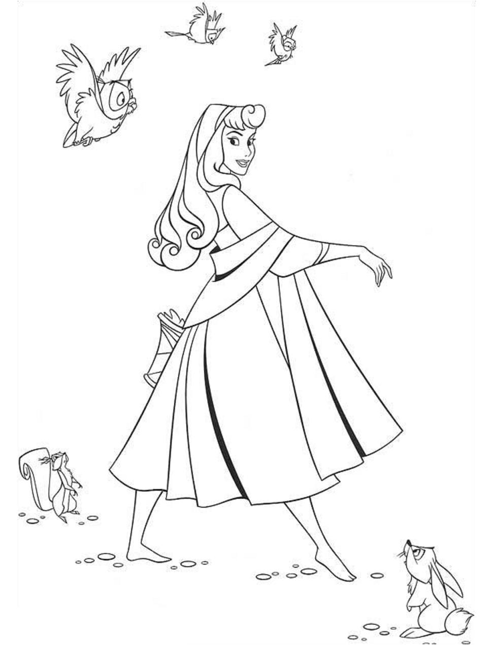 Princess Aurora Walking Coloring Page - Free Printable ...