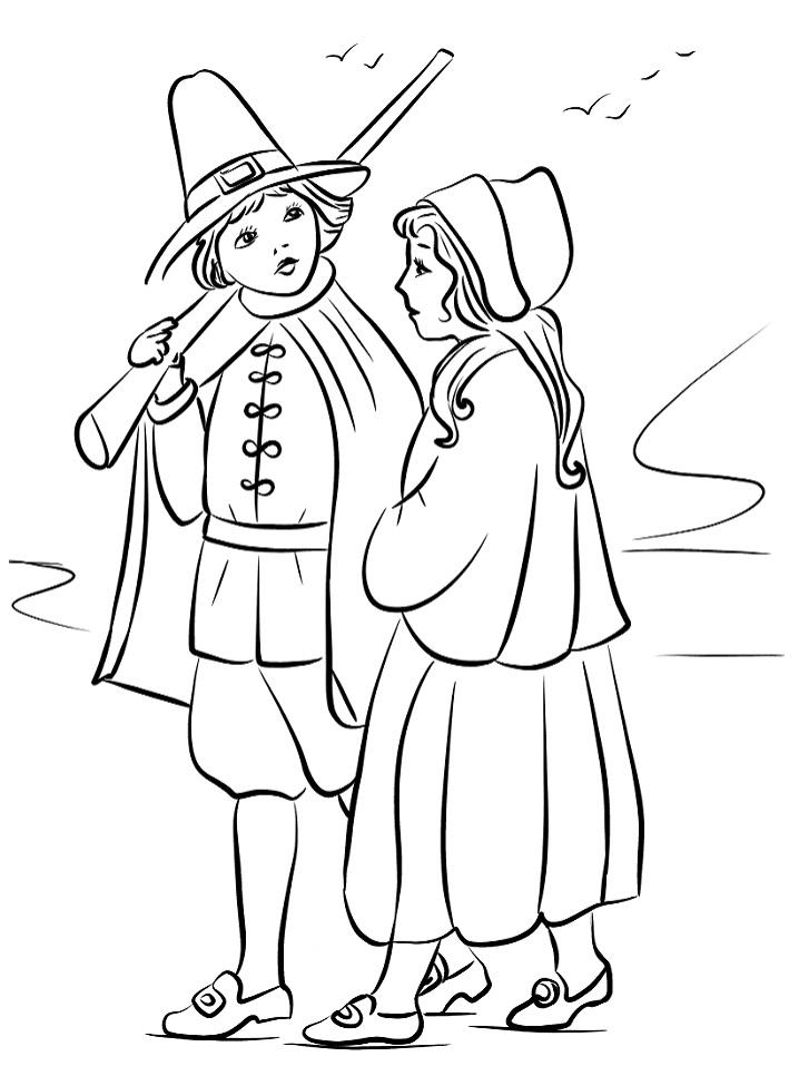 Pilgrim Children Coloring Page - Free Printable Coloring ...